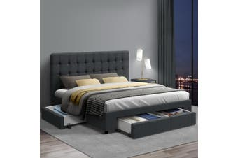 Artiss Double Full Size Bed Frame Base Mattress With Storage Drawer Fabric