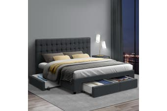 Artiss King Size Bed Frame Base Mattress With Storage Drawer Fabric Wooden