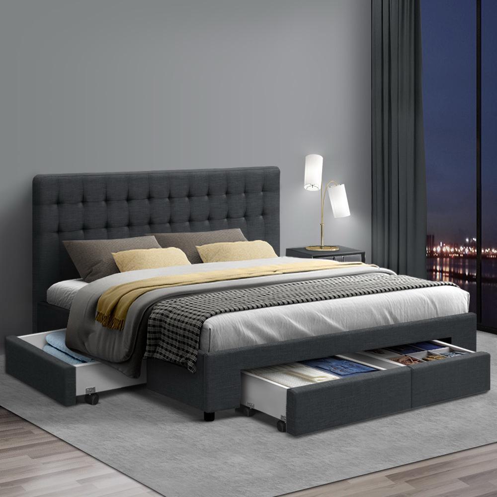 Picture of: Artiss King Size Bed Frame Base Mattress With Storage Drawer Fabric Wooden Matt Blatt