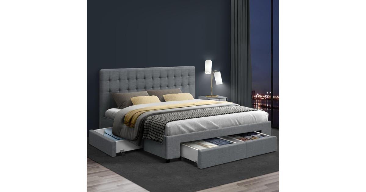 Artiss King Size Bed Frame Base Mattress With Storage Drawer Fabric Wooden Matt Blatt