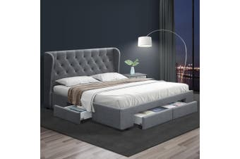 Artiss Queen Size Bed Frame Base Mattress With Storage Drawer Fabric MILA
