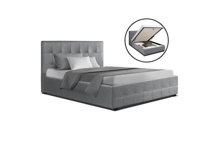 Artiss King Single Size Gas Lift Bed Frame Base With Storage  Fabric