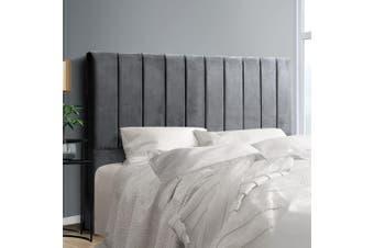 Artiss Upholstered Bed Headboard King Size Bed Tufted Fabric Bed Head Velvet Frame Base VELA Grey