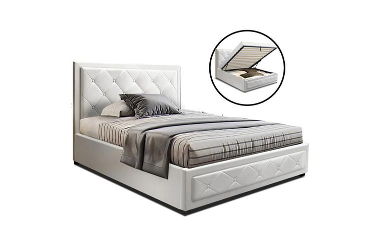 Artiss King Single Size Gas Lift Bed Frame Base With Storage  Leather