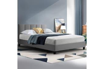 Artiss Bed Frame King Single Size Base Mattress Platform Fabric Wooden ANNA Grey