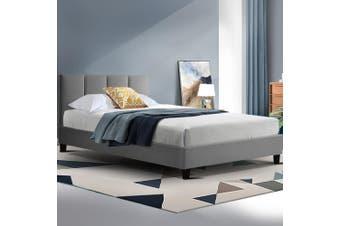 Artiss Bed Frame Single Size Base Mattress Platform Fabric Wooden ANNA Grey
