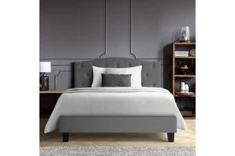 Bed Frame Single Size Base Mattress Platform Fabric Wooden Grey LARS