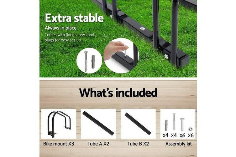3 Bike Floor Parking Rack Instant Storage Stand Bicycle Cycling Portable