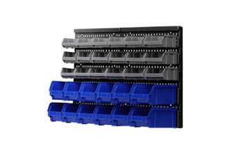 Giantz 30 Bin Wall Mounted Rack Storage Tools Organiser Shed Work Bench Garage