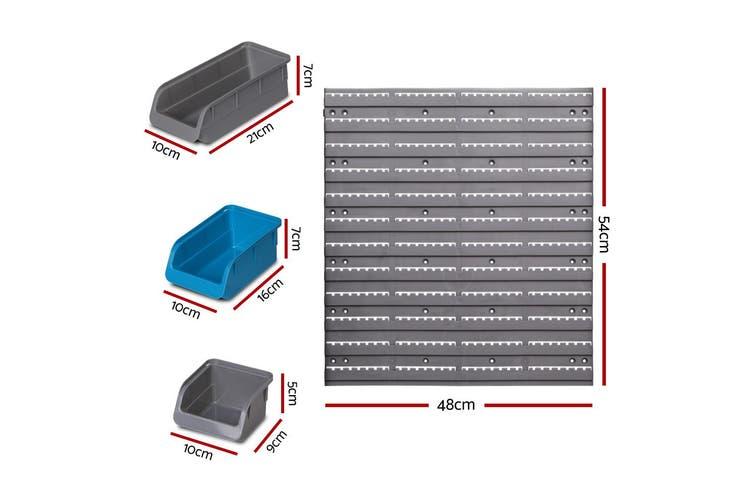 Giantz 48 Storage Bin Rack Wall-Mounted Garage Tool Parts Organiser Shelving
