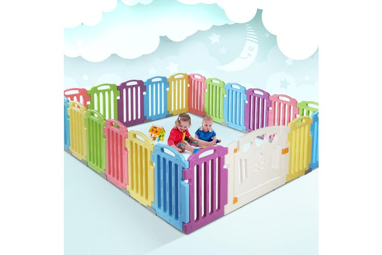 Cuddly Baby Playpen 21-Panel Plastic Play Pen Interactive Kids Toddler Gate