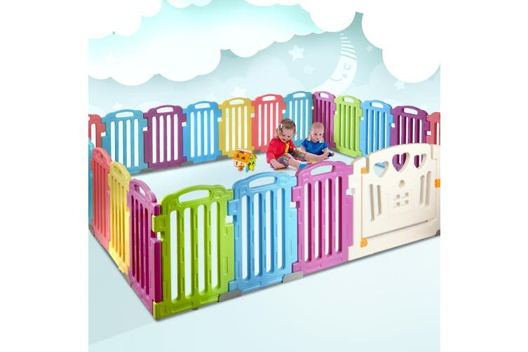 Cuddly Baby Playpen 25-Panel Plastic Play Pen Interactive Kids Toddler Gate