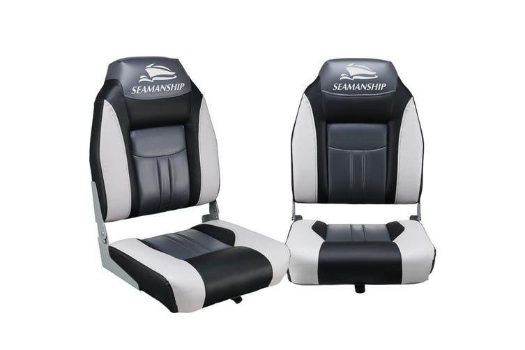Seamanship 2X Folding Boat Seats Seat Marine Seating Set All Weather Swivels BK