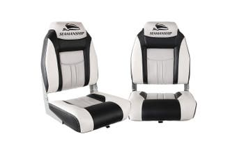 Seamanship 2X Folding Boat Seats Seat Marine Seating Set All Weather Swivels GR