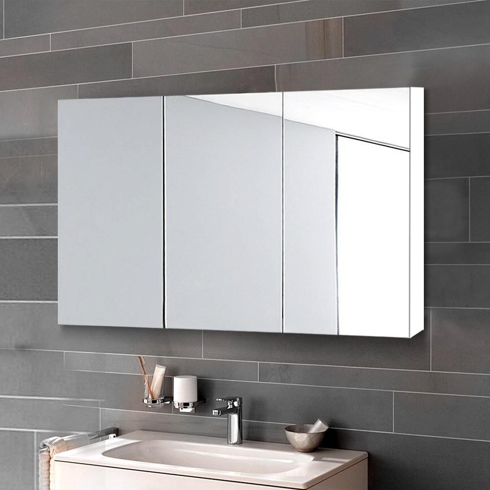 Cefito Bathroom Mirror Cabinet Bathroom Vanity Bathroom Storage Bathroom Cabinet 900mm White Matt Blatt
