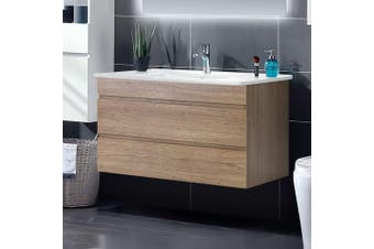 Cefito 900mm Bathroom Vanity Cabinet Wash Basin Unit Sink Storage Wall Mounted Oak White