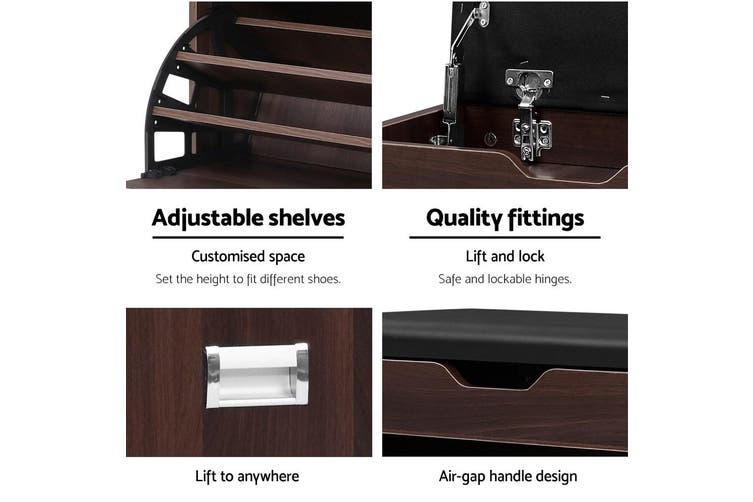 Artiss Shoe Cabinet Bench Shoes Organiser Storage Rack Wooden Cupboard 15 Pairs
