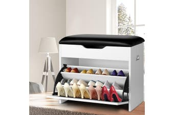 Artiss Shoe Cabinet Bench Shoes Organiser Storage Rack Cupboard White 15 Pairs