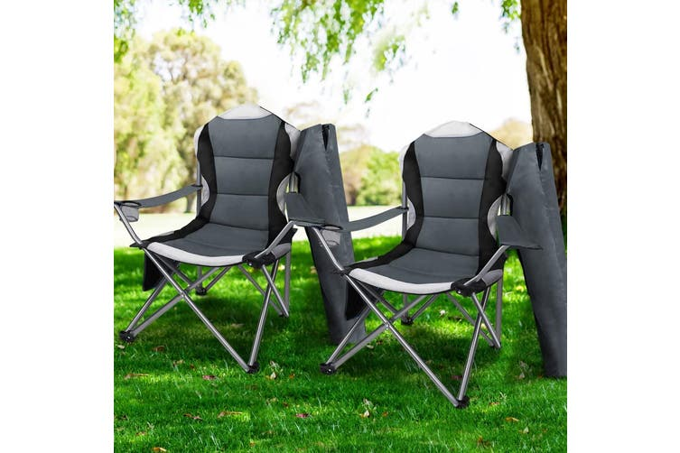 Weisshorn 2X Folding Camping Chairs Arm Chair Portable Outdoor Beach Fishing BBQ