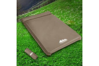 Weisshorn Self Inflating Mattress 10cm Thick Sleeping Camping Mat Suede Surface Air Bed Pad Coffee