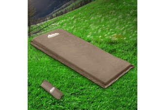 Weisshorn Self Inflating Mattress Single 10cm Thick Camping Mat Suede Surface Air Bed Sleeping Pad Water Proof Non Slip Camp Hike Hiking Coffee