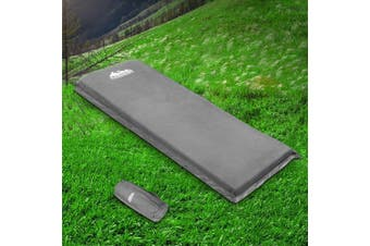 Weisshorn Self Inflating Mattress Single 10cm Thick Camping Mat Suede Surface Air Bed Sleeping Pad Grey Water Proof Non Slip Camp Hike Hiking