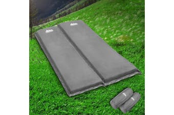 Weisshorn Self Inflating Mattress Single x2 10cm Thick Camping Mat Suede Surface Air Bed Sleeping Pad Grey Water Proof Non Slip Camp Hike Hiking