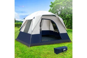 Family Camping Tent 4 Person Hiking Beach Tents Canvas Swag Ripstop