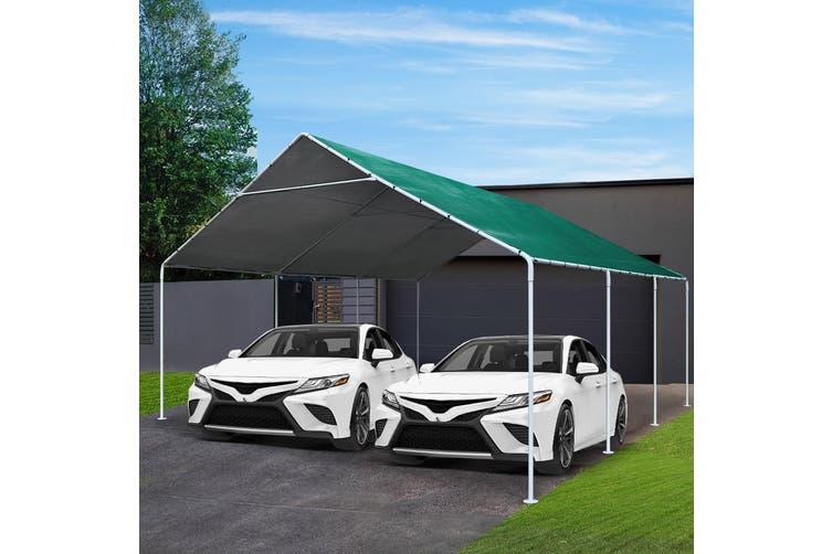 Carports 6m x6m Carport Kits Gazebo Canopy Tent Cover Metal Garden Shed Green