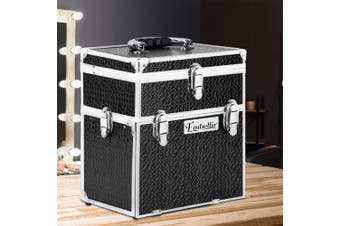 Embellir Portable Lockable Makeup Case Beauty Professional With Mirror Organiser Travel With Drawers