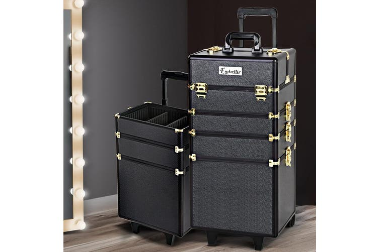 Embellir 7 In 1 Extra Large Professional Cosmetic Beauty Case Makeup Artist Trolley Wheels Aluminum Box