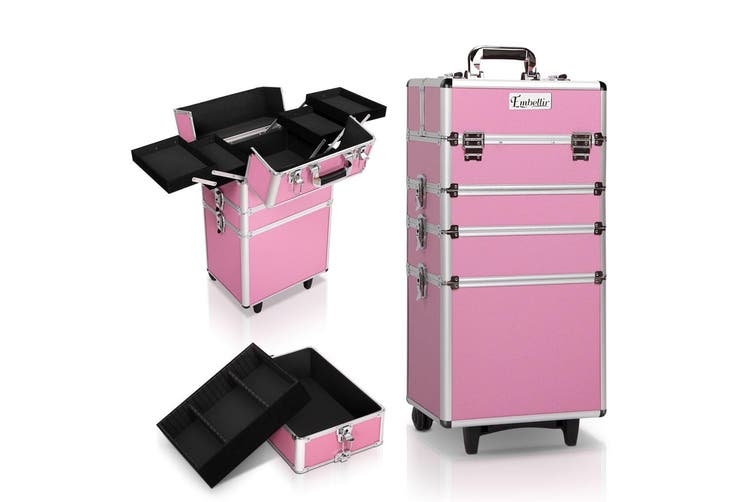 Embellir 7 In 1 Professional Cosmetic Beauty Case Makeup Trolley Set Wheels Pink