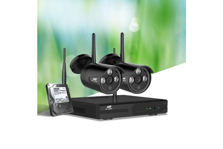 UL Tech CCTV Wireless Security System 2TB 4CH NVR 1080P 2 Camera Sets