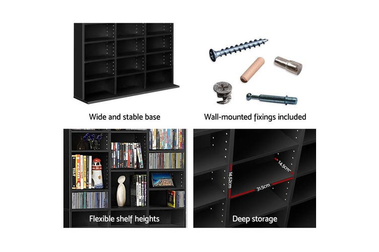 Artiss 528 DVD/1116 CD Storage Shelf Media Rack Stand Cupboard Book Unit Black