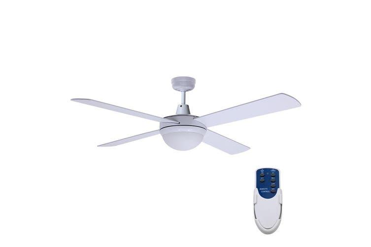 "Devanti 52"" Ceiling Fan With Light Remote Control Fans 1300mm 4 Blades White"