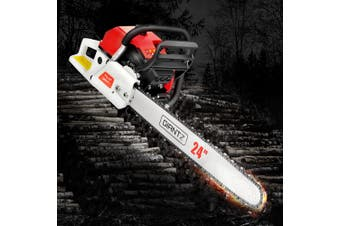 "Giantz Chainsaw Petrol 92cc Petrol Chainsaws Chain Saw 24"" inch inches E-Start Cover Included Tree Pruning Commercial Grade Top Handle"