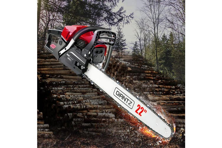 "Giantz Chainsaw Petrol 62cc Petrol Chainsaws Chain Saw 22"" inch inches E-Start Cover Included Tree Pruning Commercial Grade Top Handle"
