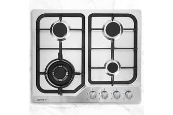 Devanti 60cm Gas Cooktop Cooker 4 Burner Stove Top Konbs NG LPG Stainless Steel