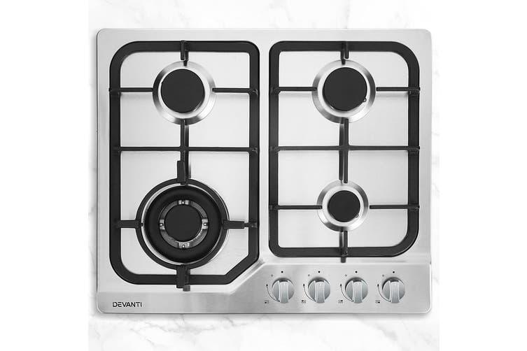 Devanti 60cm Gas Cooktop Cooker 4 Burner Stove Top Konbs NG LPG Stainless Steel
