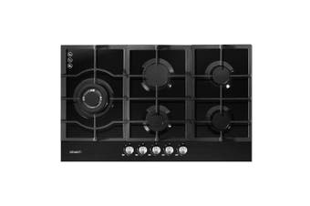 Gas Cooktop 90cm 5 Burner Stove Hob Cooker Kitchen NG LPG Black Glass