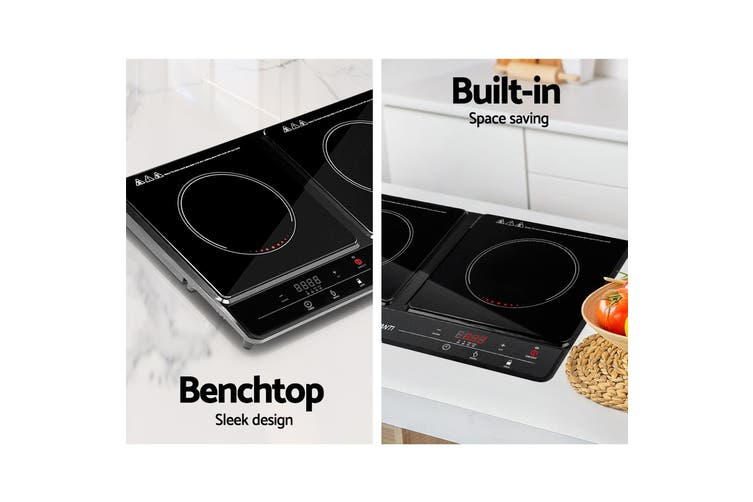 Induction Cooktop 60cm Electric Ceramic Cook Top Cooker Stove Hob Hot Plate Twin Cooking Burners Touch Control Kitchen Benchtop Portable