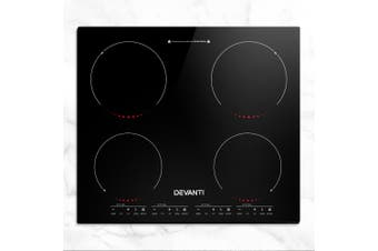 Devanti 60cm Induction Cooktop Electric Ceramic Glass Cook Top Kitchen Cooker Stove Hob Hot Plate 4-Zone Cooking Burners Built-In Black