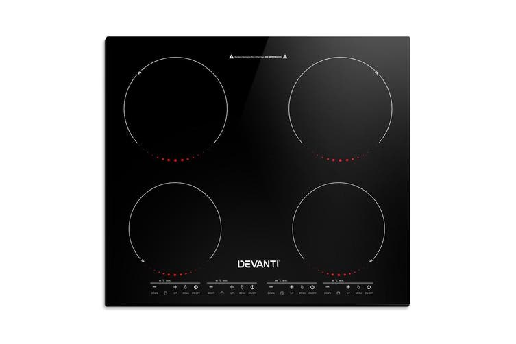 Devanti 60cm Induction Cooktop Electric Portable Ceramic Glass Cook Top Kitchen Cooker Stove Hob Hot Plate 4-Zone Cooking Burners Built-In Black