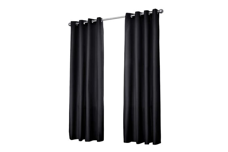 Art Queen 2x Blockout Curtains Eyelet 3 Pass Blackout Room 300 x 230cm Black