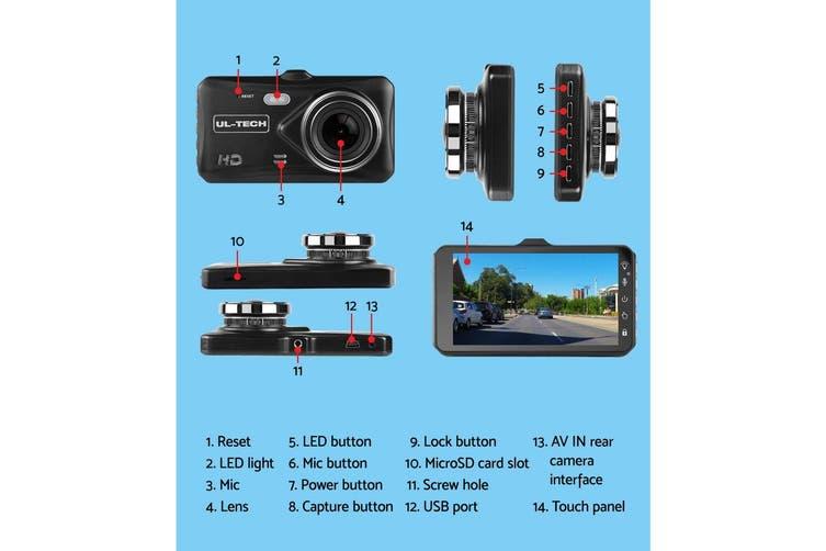 UL-TECH Dash Camera Dual Cam Reversing Car 4'' Recorder 32GB DVR Reverse 1080P