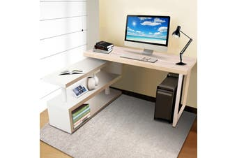 Artiss Office Computer Desk Corner Study Table Workstation Bookshelf 140CM