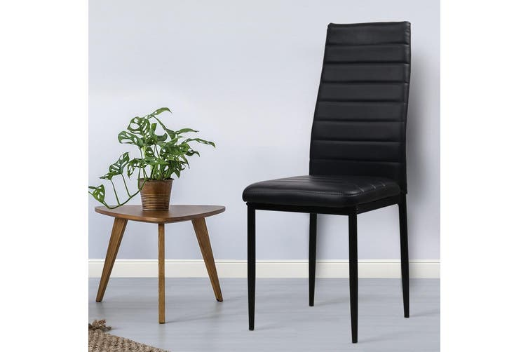 Artiss 4x Astra Dining Chairs Set Leather PVC Stretch Seater Metal Leg Table BK