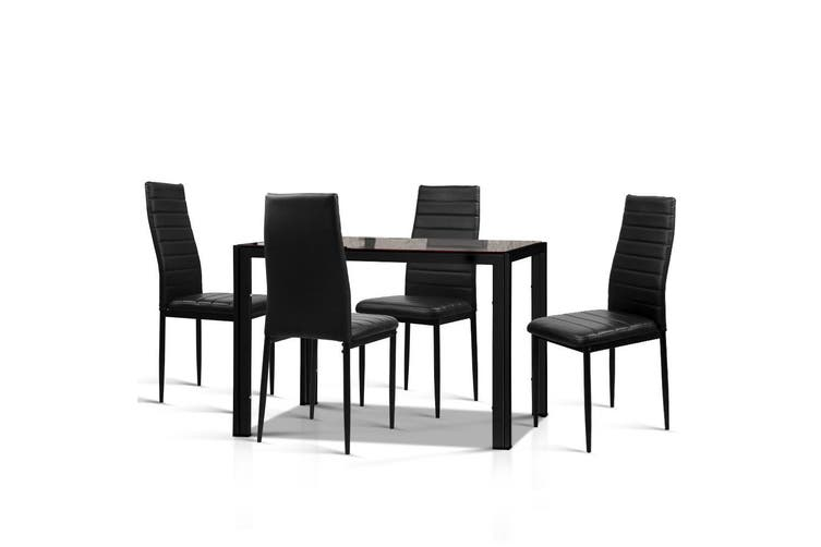 Artiss Astra 5pcs Dining Table and Chairs Dinner Set Glass Leather Kitchen Black