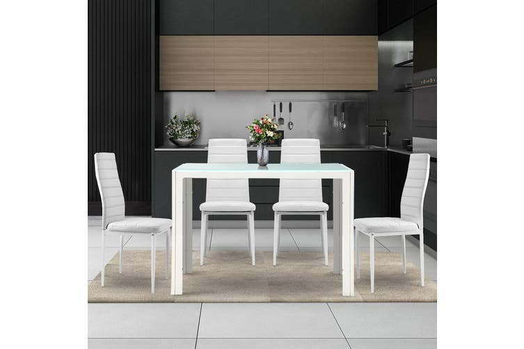 Artiss Dining Table and Chairs Set Glass Tables Leather Seater White Kitchen