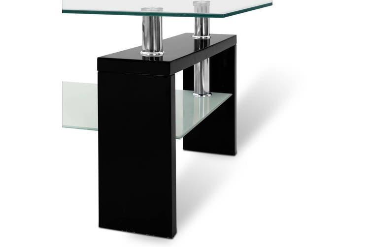 Artiss Coffee Table 2 Tier Tempered Glass Stainless Steel Storage Shelf Modern